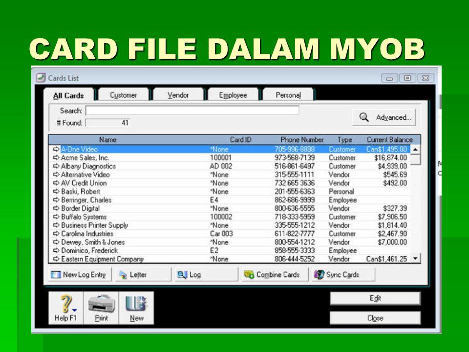 CARD FILE DALAM MYOB