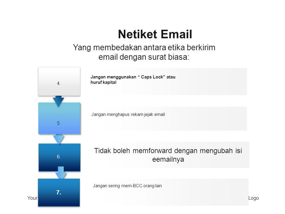 Netiket Email Yang membedakan antara etika berkirim email dengan surat biasa: 4. 6. 5. Jangan menggunakan Caps Lock atau huruf kapital.