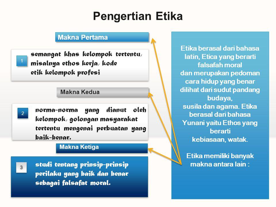 Pengertian Etika Makna Pertama. Etika berasal dari bahasa latin, Etica yang berarti falsafah moral.