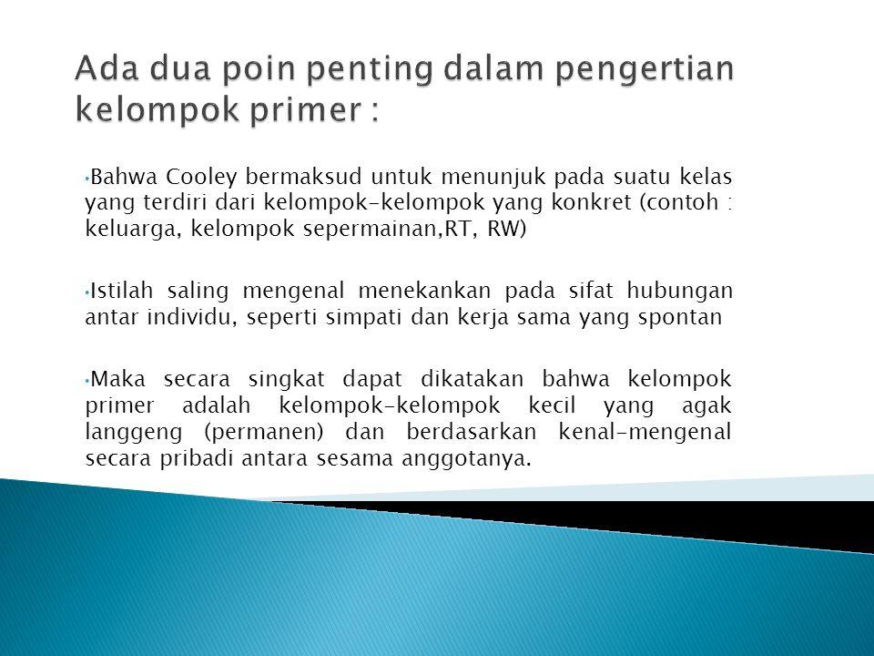 Ada dua poin penting dalam pengertian kelompok primer :