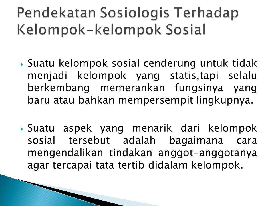 Pendekatan Sosiologis Terhadap Kelompok-kelompok Sosial