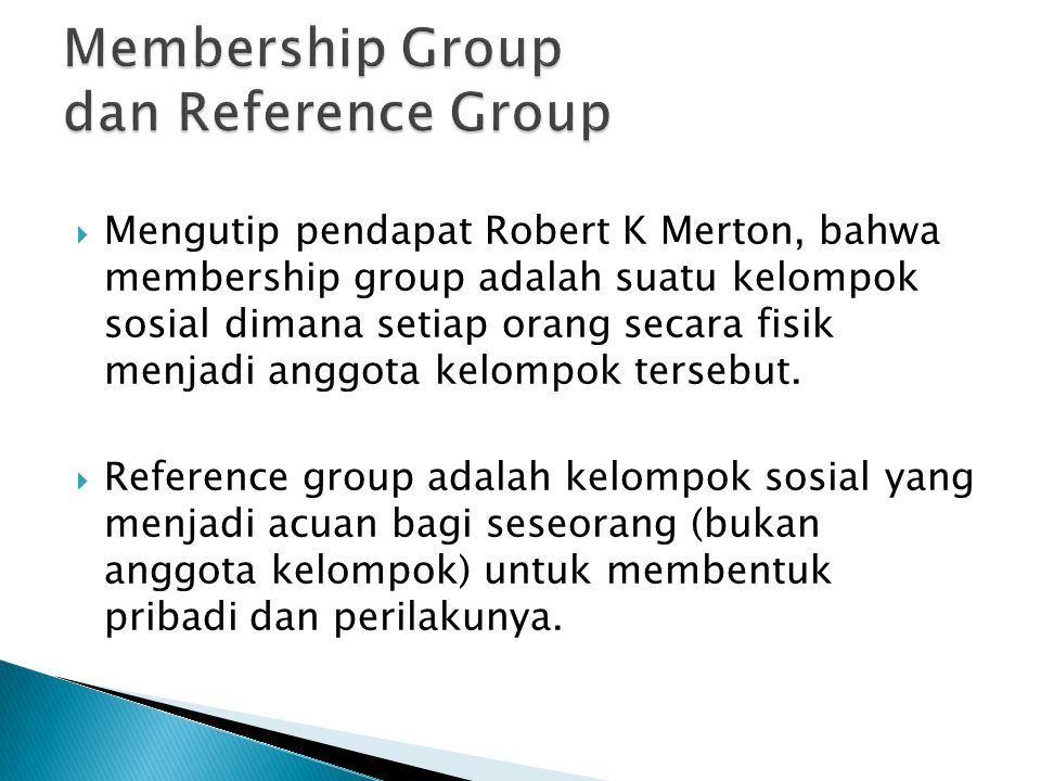 Membership Group dan Reference Group