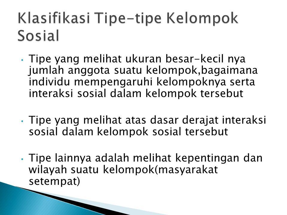 Klasifikasi Tipe-tipe Kelompok Sosial