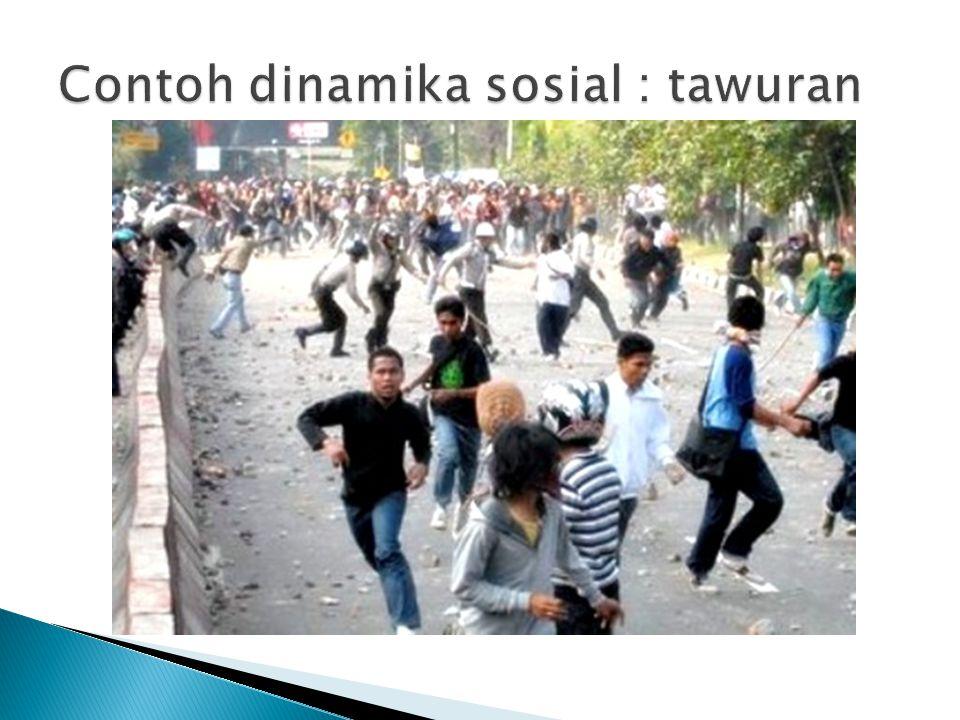 Contoh dinamika sosial : tawuran