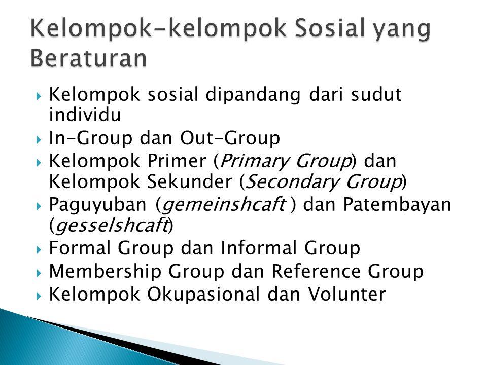 Kelompok-kelompok Sosial yang Beraturan