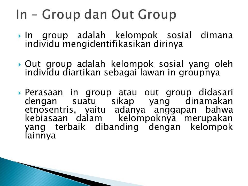 In – Group dan Out Group In group adalah kelompok sosial dimana individu mengidentifikasikan dirinya.