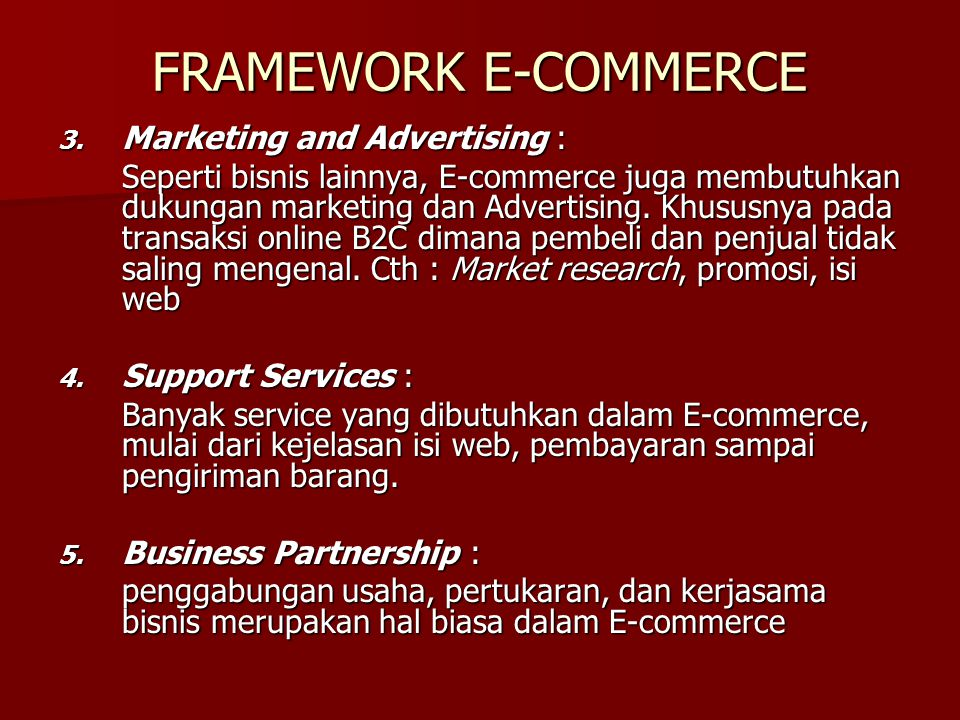 FRAMEWORK E-COMMERCE Marketing and Advertising :