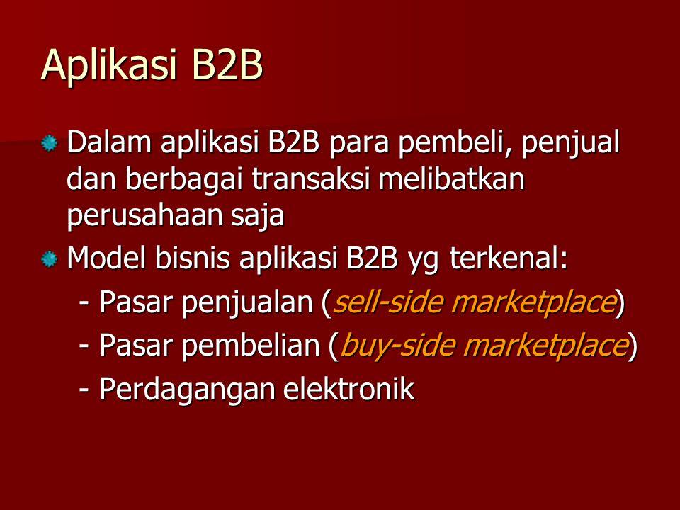 Aplikasi B2B Dalam aplikasi B2B para pembeli, penjual dan berbagai transaksi melibatkan perusahaan saja.