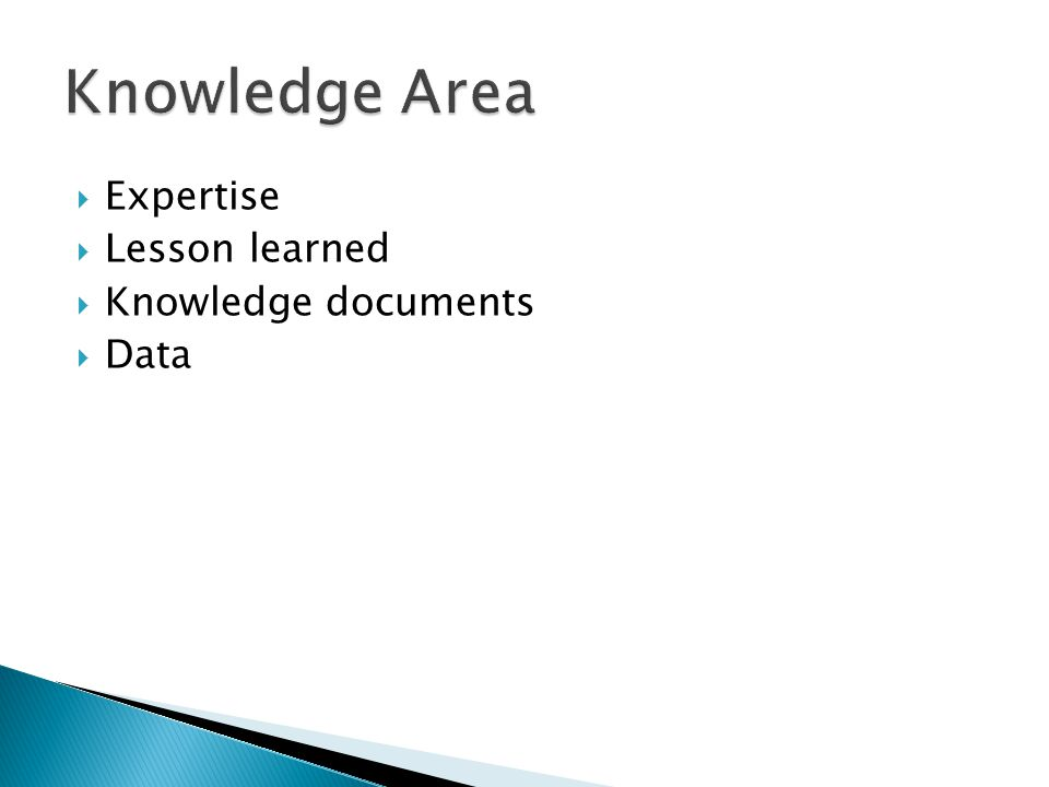 Knowledge Area Expertise Lesson learned Knowledge documents Data