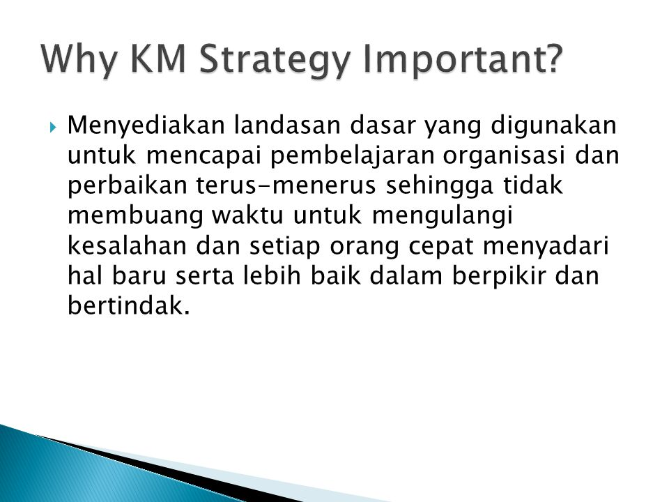 Why KM Strategy Important