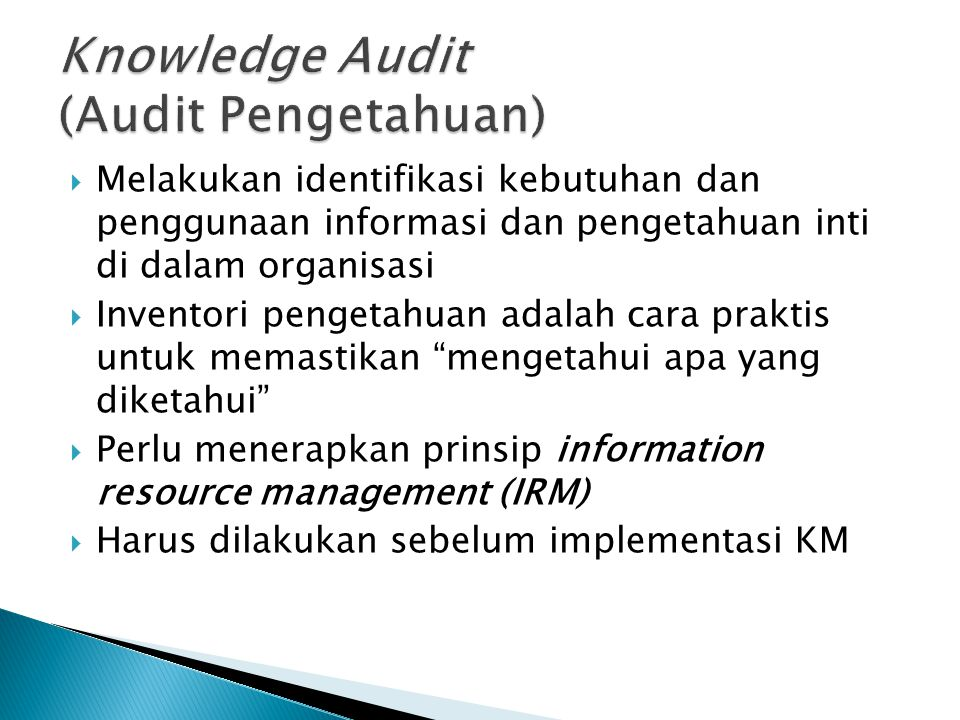 Knowledge Audit (Audit Pengetahuan)