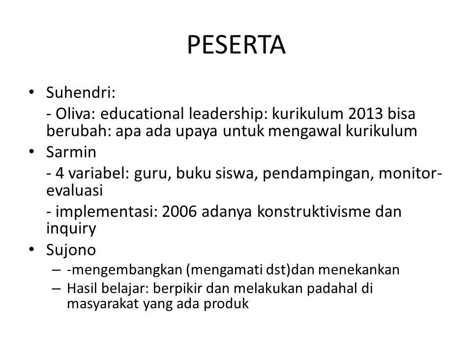 PESERTA Suhendri: - Oliva: educational leadership: kurikulum 2013 bisa berubah: apa ada upaya untuk mengawal kurikulum.