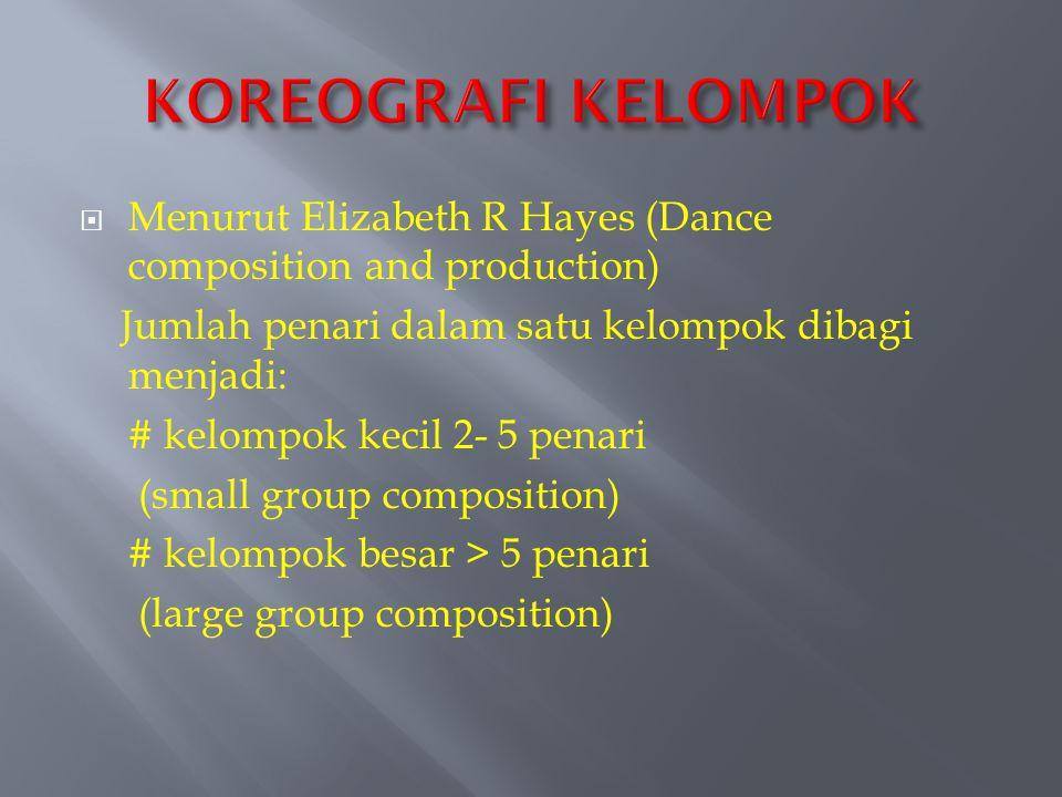 KOREOGRAFI KELOMPOK Menurut Elizabeth R Hayes (Dance composition and production) Jumlah penari dalam satu kelompok dibagi menjadi: