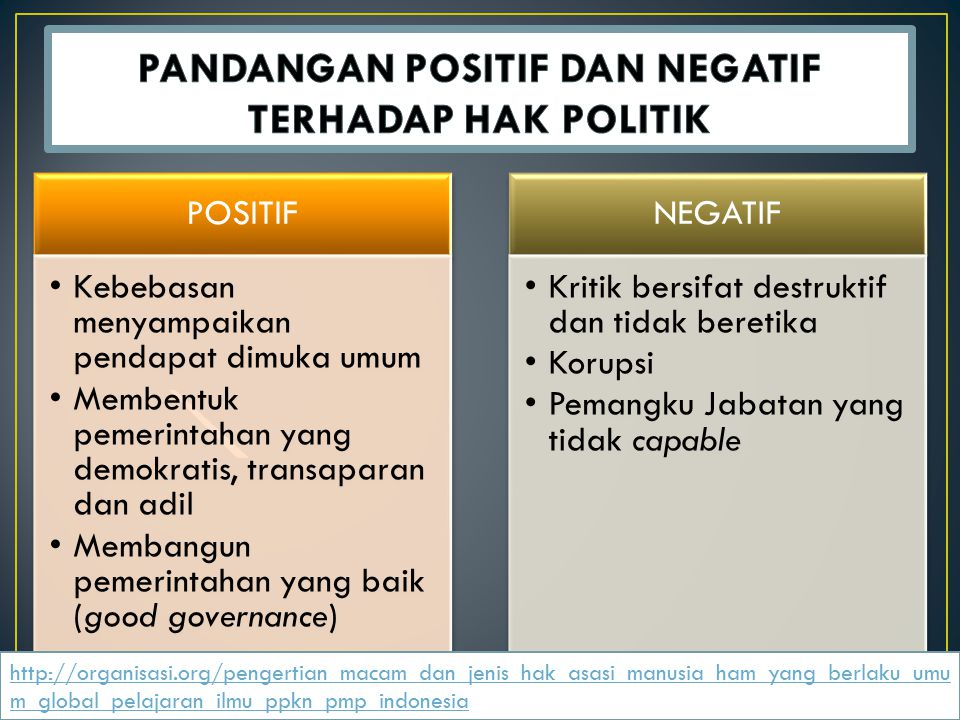 PANDANGAN POSITIF DAN NEGATIF TERHADAP HAK POLITIK