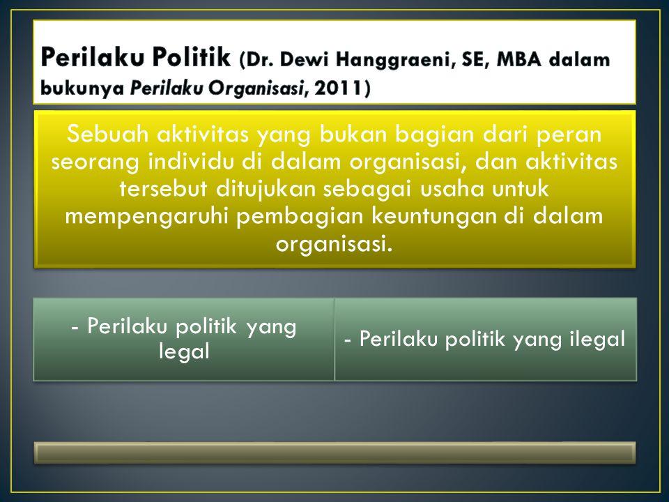 Perilaku Politik (Dr. Dewi Hanggraeni, SE, MBA dalam bukunya Perilaku Organisasi, 2011)