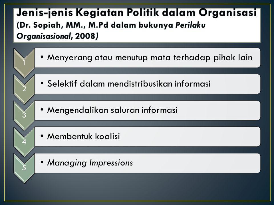 Jenis-jenis Kegiatan Politik dalam Organisasi (Dr. Sopiah, MM. , M