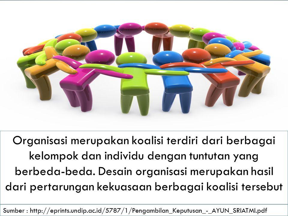 Organisasi merupakan koalisi terdiri dari berbagai kelompok dan individu dengan tuntutan yang berbeda-beda. Desain organisasi merupakan hasil dari pertarungan kekuasaan berbagai koalisi tersebut
