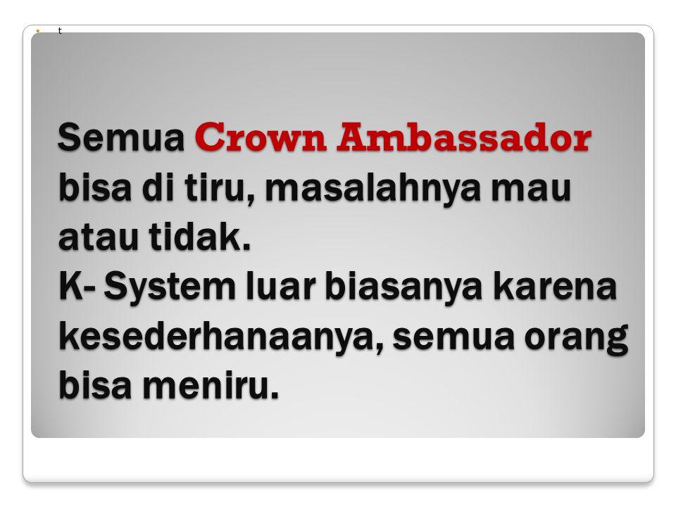 t Semua Crown Ambassador bisa di tiru, masalahnya mau atau tidak.