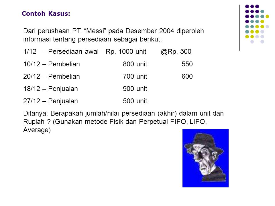 1/12 – Persediaan awal Rp. 1000 unit @Rp. 500