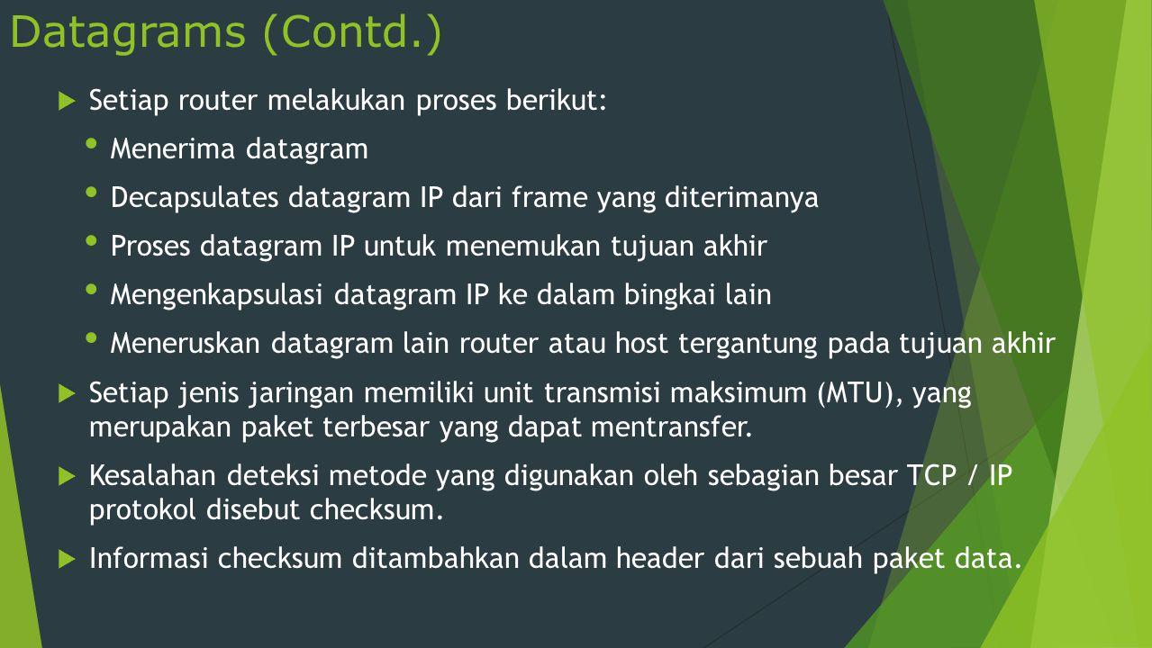 Datagrams (Contd.) Setiap router melakukan proses berikut: