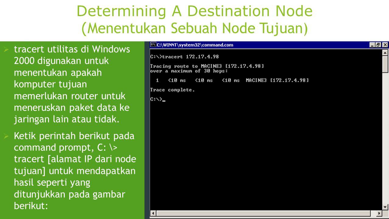 Determining A Destination Node (Menentukan Sebuah Node Tujuan)