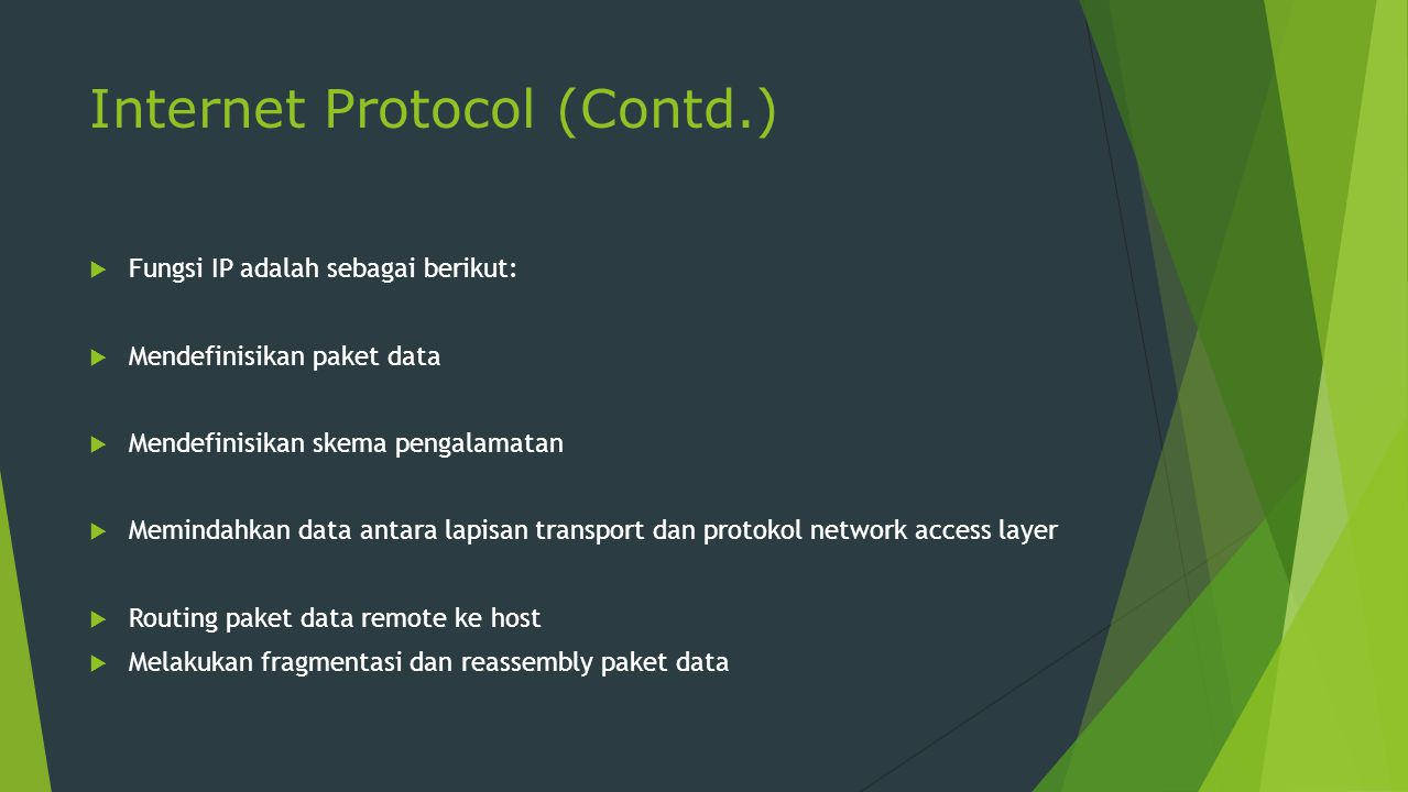 Internet Protocol (Contd.)