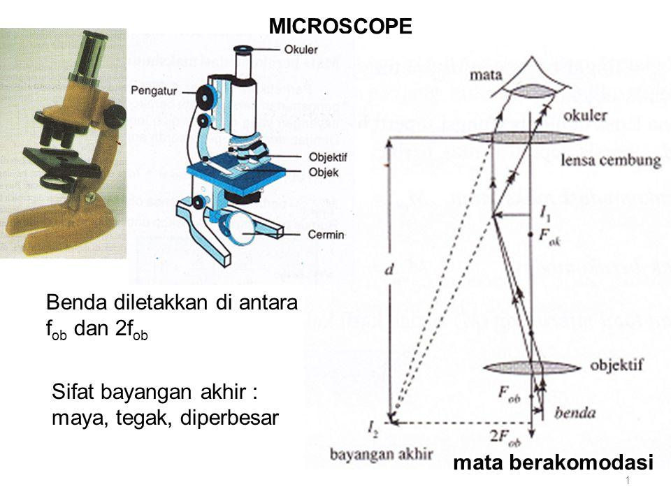 MICROSCOPE Benda diletakkan di antara. fob dan 2fob. Sifat bayangan akhir : maya, tegak, diperbesar.