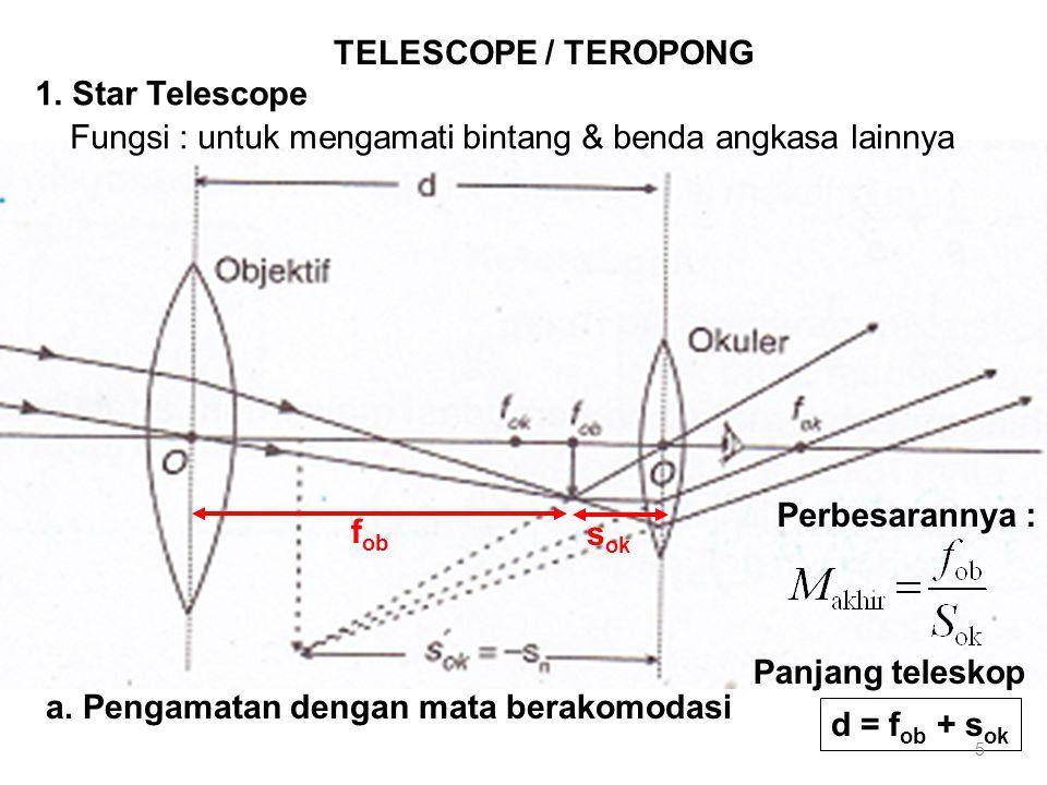 TELESCOPE / TEROPONG 1. Star Telescope. Fungsi : untuk mengamati bintang & benda angkasa lainnya. Perbesarannya :