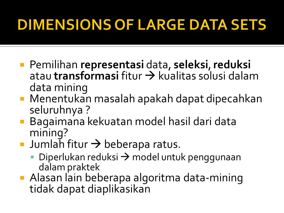 DIMENSIONS OF LARGE DATA SETS