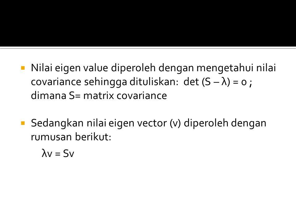 Nilai eigen value diperoleh dengan mengetahui nilai covariance sehingga dituliskan: det (S – λ) = 0 ; dimana S= matrix covariance
