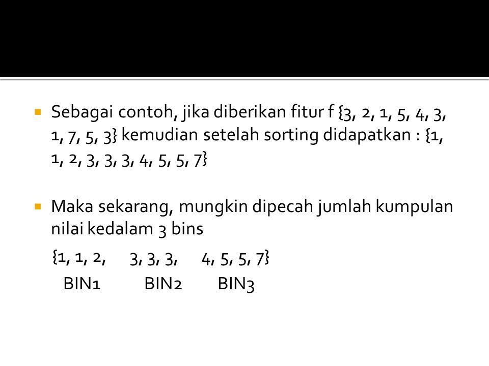 Sebagai contoh, jika diberikan fitur f {3, 2, 1, 5, 4, 3, 1, 7, 5, 3} kemudian setelah sorting didapatkan : {1, 1, 2, 3, 3, 3, 4, 5, 5, 7}