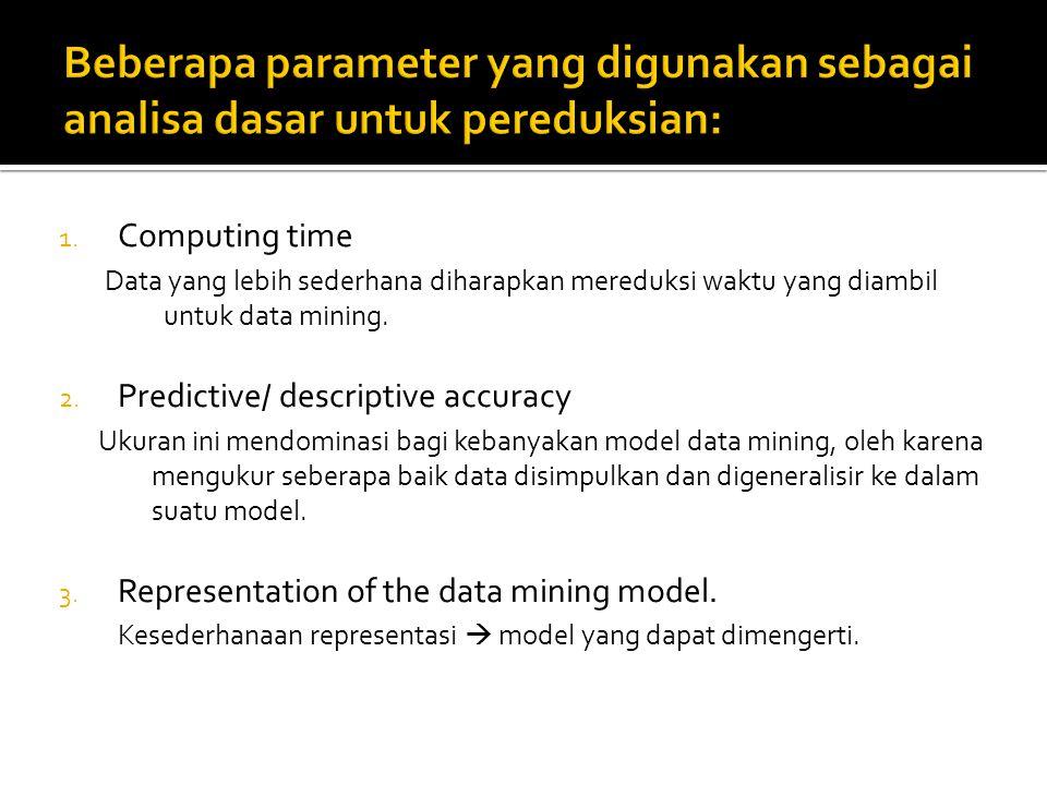 Beberapa parameter yang digunakan sebagai analisa dasar untuk pereduksian: