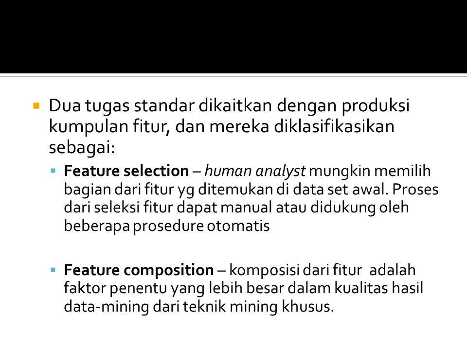 Dua tugas standar dikaitkan dengan produksi kumpulan fitur, dan mereka diklasifikasikan sebagai: