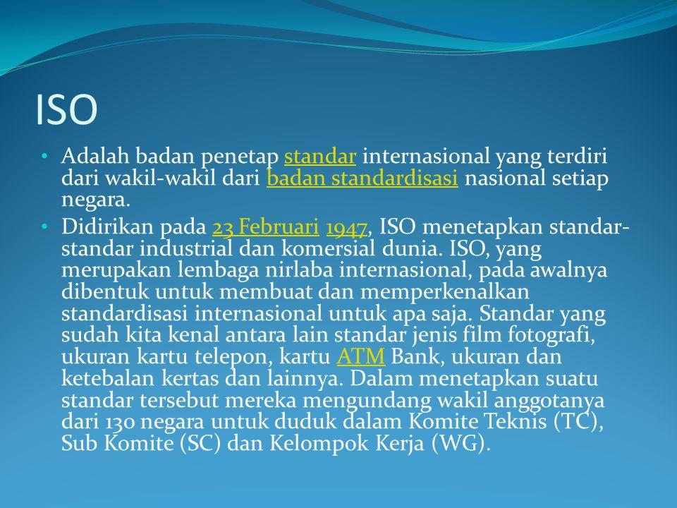ISO Adalah badan penetap standar internasional yang terdiri dari wakil-wakil dari badan standardisasi nasional setiap negara.