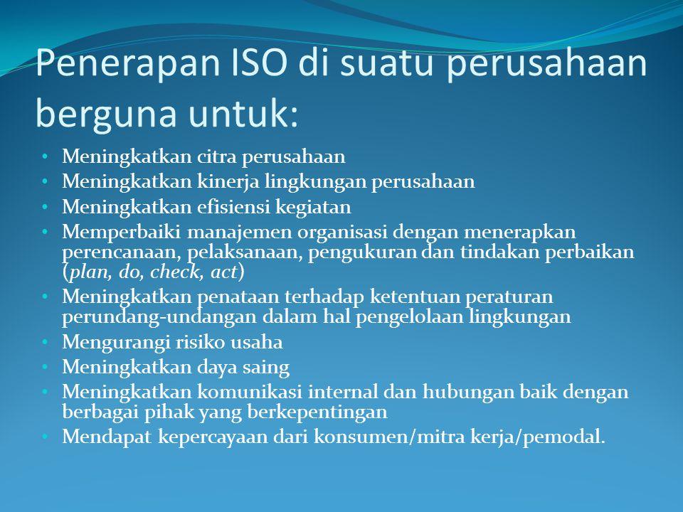 Penerapan ISO di suatu perusahaan berguna untuk: