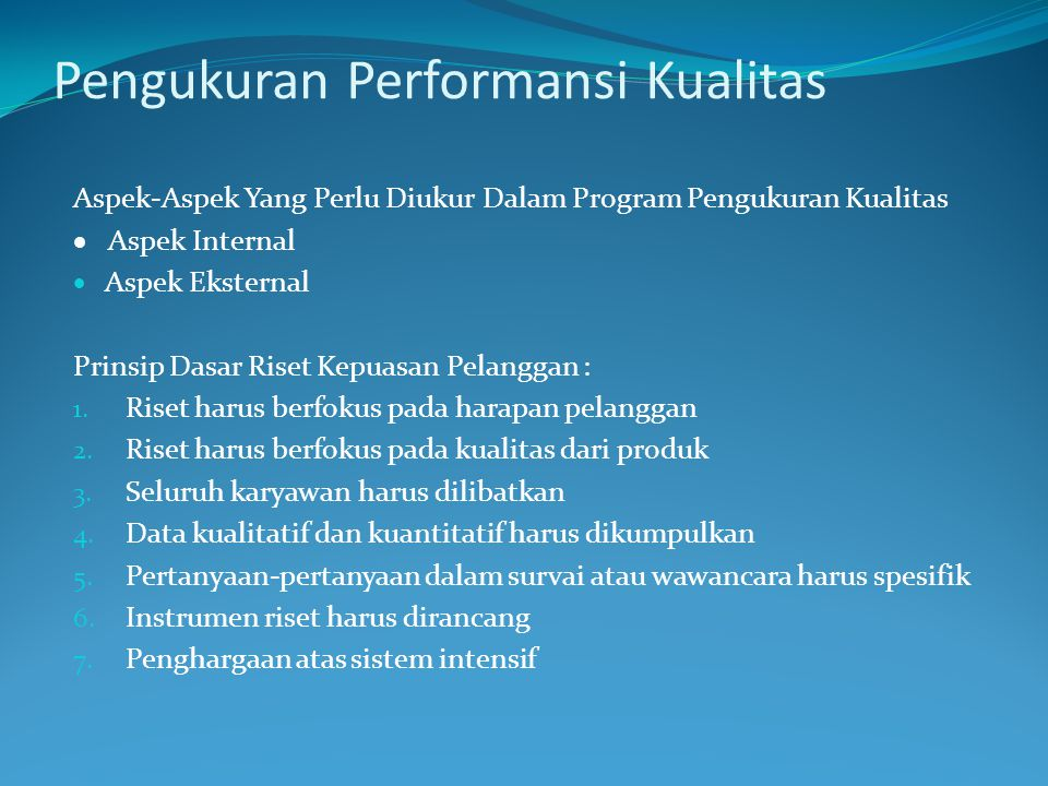Pengukuran Performansi Kualitas