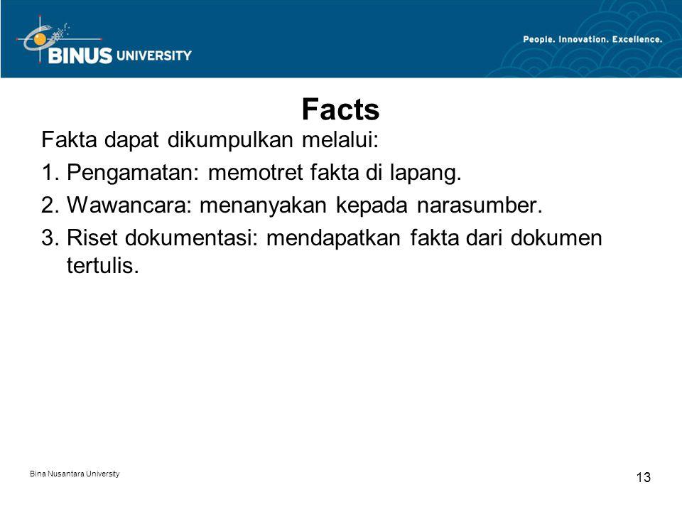 Facts Fakta dapat dikumpulkan melalui:
