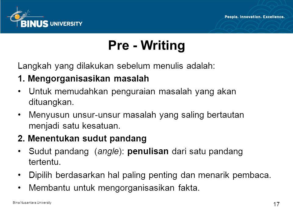 Pre - Writing Langkah yang dilakukan sebelum menulis adalah: