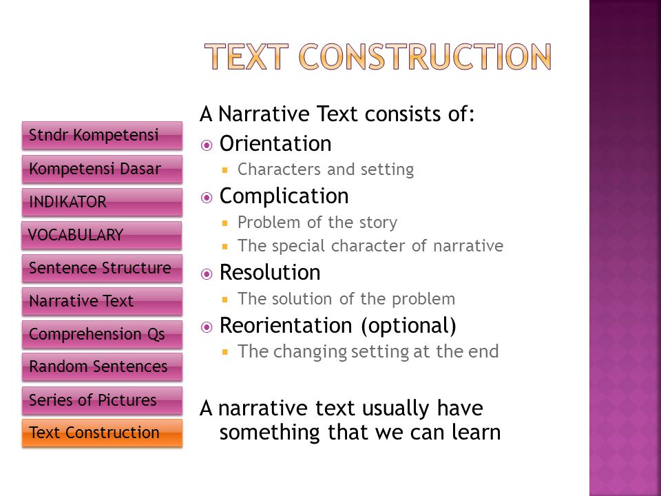 TEXT CONSTRUCTION A Narrative Text consists of: Orientation
