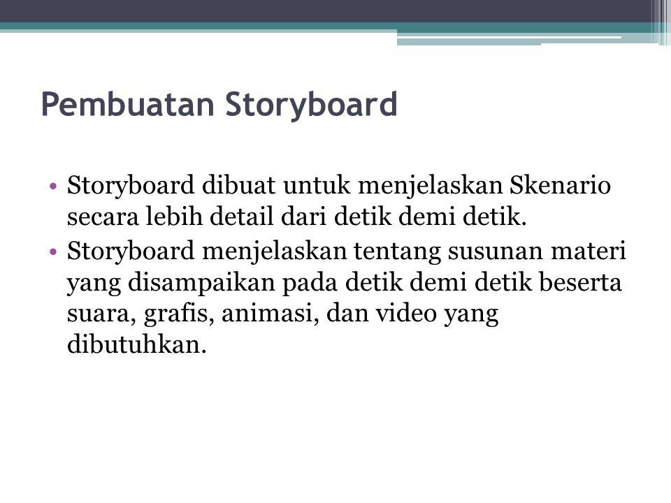 Pembuatan Storyboard Storyboard dibuat untuk menjelaskan Skenario secara lebih detail dari detik demi detik.