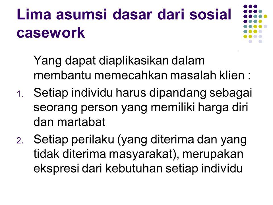 Lima asumsi dasar dari sosial casework