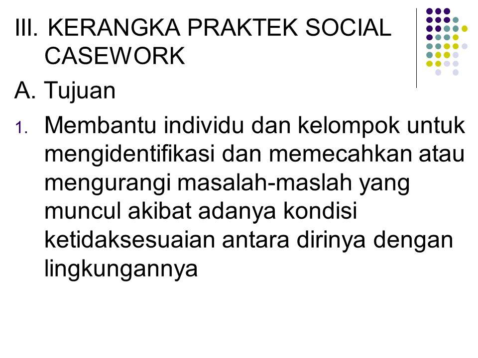 III. KERANGKA PRAKTEK SOCIAL CASEWORK