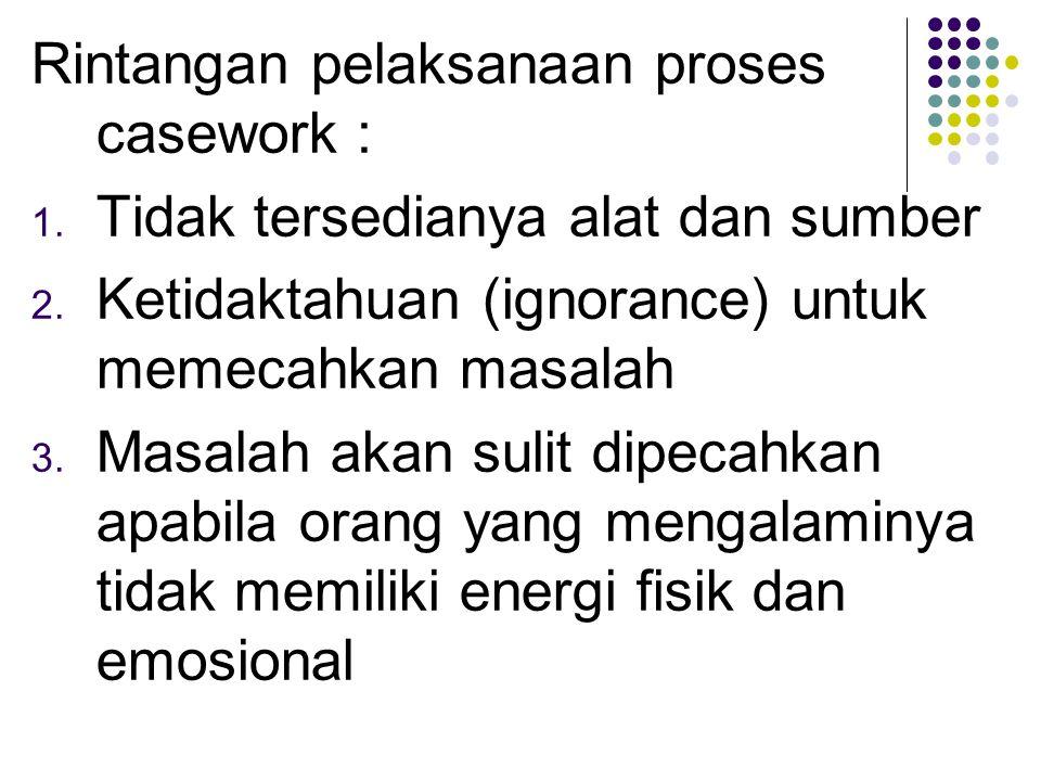 Rintangan pelaksanaan proses casework :