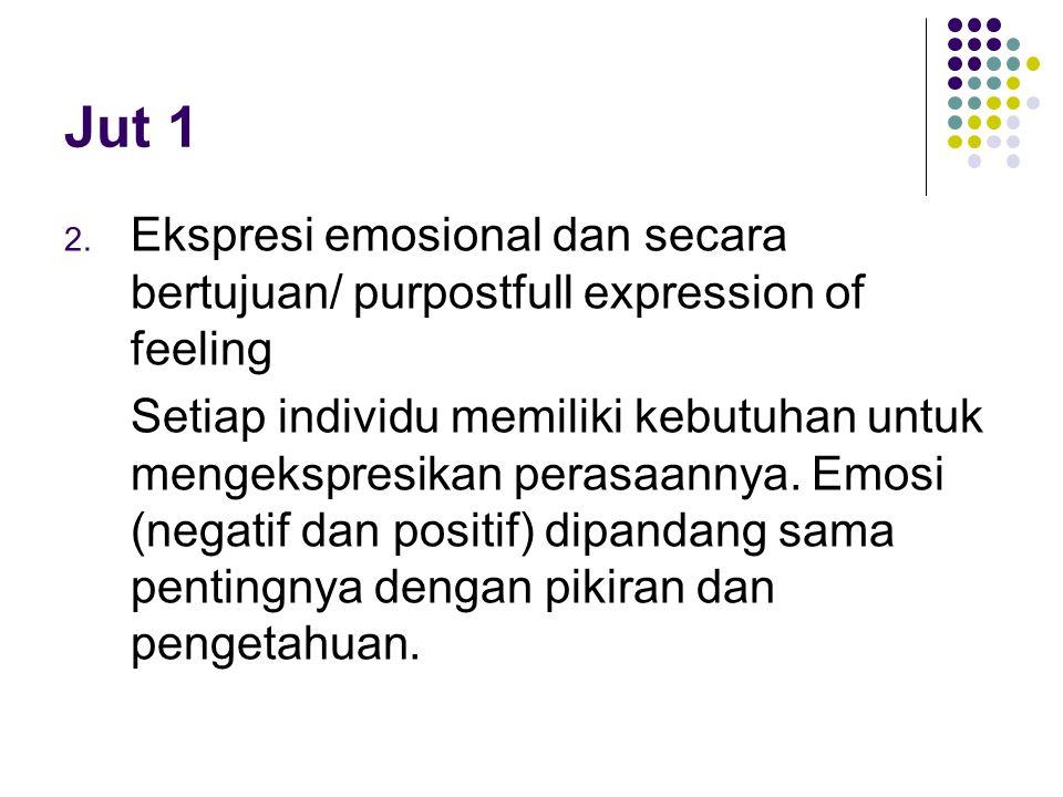 Jut 1 Ekspresi emosional dan secara bertujuan/ purpostfull expression of feeling.