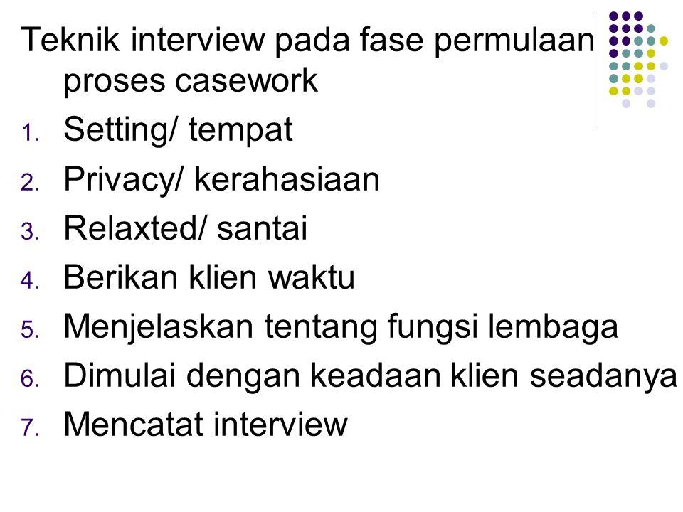 Teknik interview pada fase permulaan proses casework