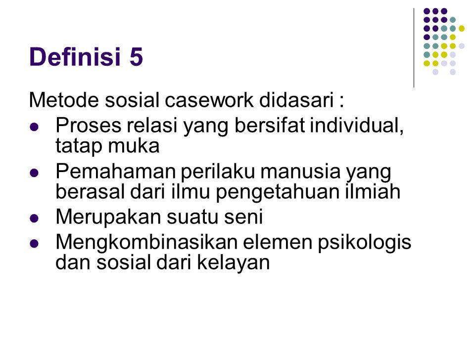 Definisi 5 Metode sosial casework didasari :