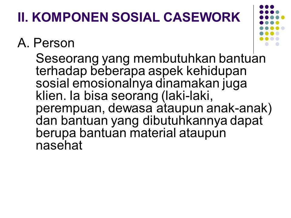 II. KOMPONEN SOSIAL CASEWORK