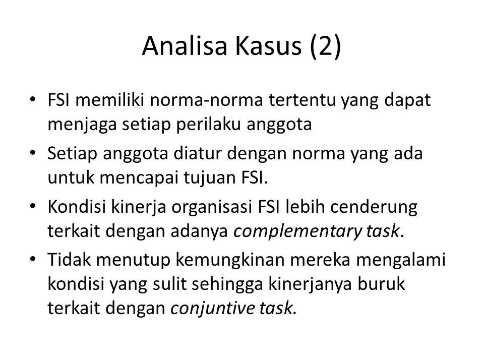 Analisa Kasus (2) FSI memiliki norma-norma tertentu yang dapat menjaga setiap perilaku anggota.