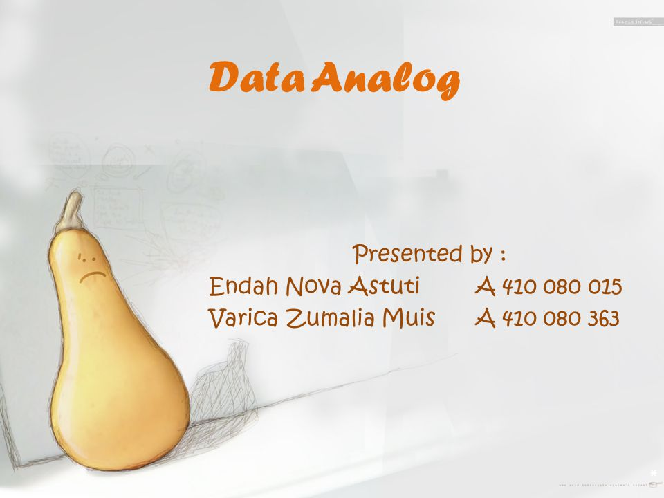 Data Analog Presented by : Endah Nova Astuti A 410 080 015 Varica Zumalia Muis A 410 080 363
