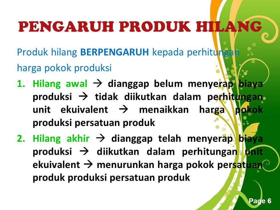 PENGARUH PRODUK HILANG